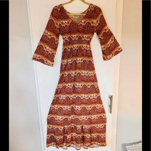 Boho 3/4 bell sleeve maxi dress
